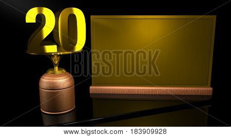 Rendering 3D Wooden trophy with number 20 in gold and golden plate with space to write on mirror table in black background. Commemorative Trophy number 20 for celebrating anniversaries or important dates