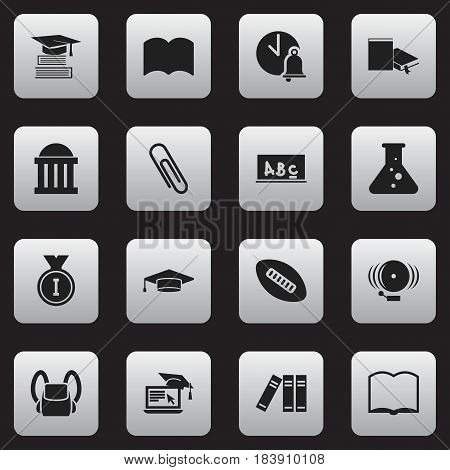 Set Of 16 Editable Education Icons. Includes Symbols Such As Chemistry, Courtroom, Oval Ball And More. Can Be Used For Web, Mobile, UI And Infographic Design.