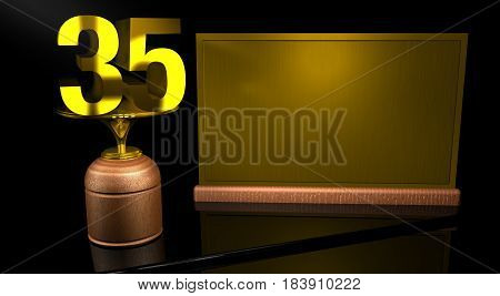 Rendering 3D Wooden trophy with number 35 in gold and golden plate with space to write on mirror table in black background. Commemorative Trophy number 35 for celebrating anniversaries or important dates