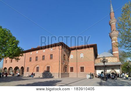 ANKARA, TURKEY - APRIL 28, 2017: Haci Bayram Mosque is one of the best known mosques in Ankara. It was built during the Ottoman Empire period and a tourist magnet in modern times.