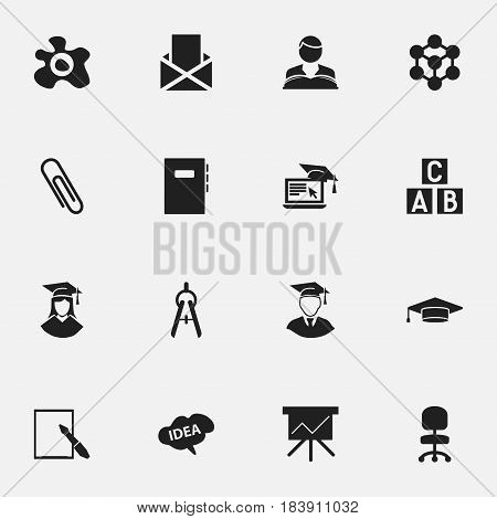 Set Of 16 Editable Science Icons. Includes Symbols Such As Math Tool, Diplomaed Male, Staple And More. Can Be Used For Web, Mobile, UI And Infographic Design.