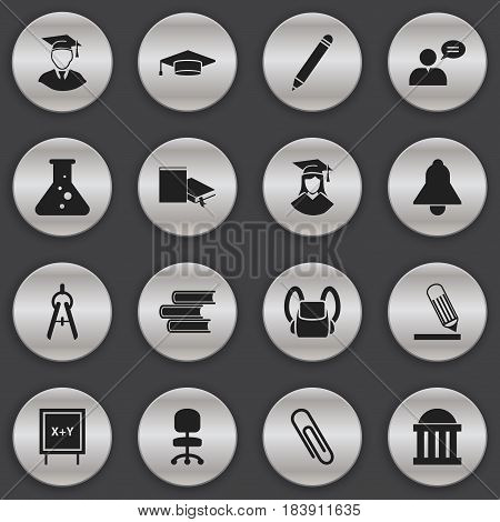 Set Of 16 Editable Graduation Icons. Includes Symbols Such As Staple, Courtroom, Schoolbag And More. Can Be Used For Web, Mobile, UI And Infographic Design.