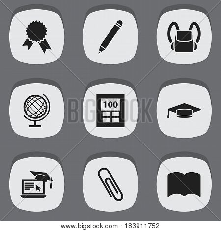 Set Of 9 Editable Science Icons. Includes Symbols Such As Victory Medallion, Earth Planet, Calculator And More. Can Be Used For Web, Mobile, UI And Infographic Design.