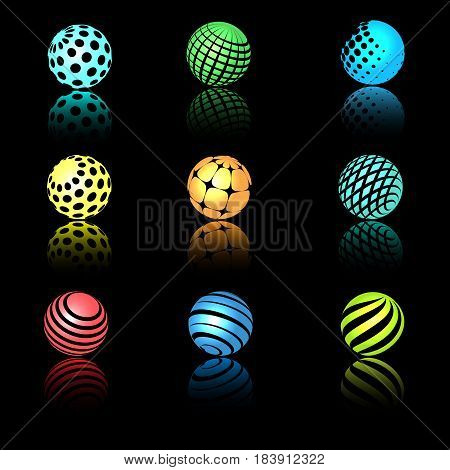 Sphere 3d objects with texture for science, research and nano technology logo designs