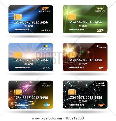 Credit or debit cards vector illustration. Business financial credit cards with glossy background isolated on white background
