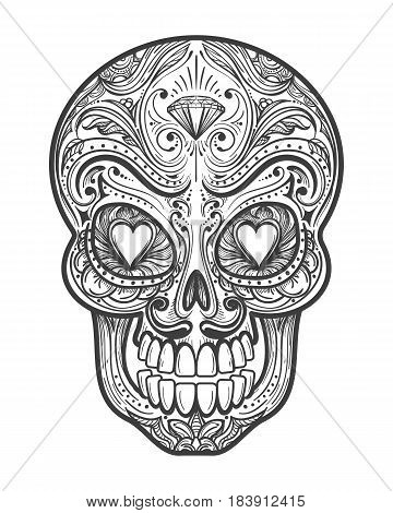 Sugar skull tattoo vector illustration. Mexican calavera painting art with hearts isolated on white background