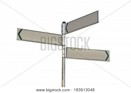 Blank Direction sign isolated on white background