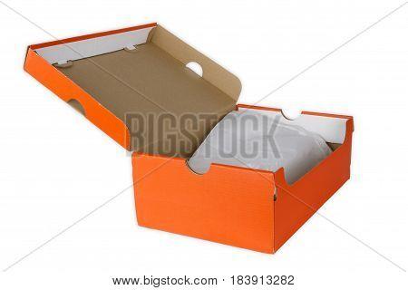 Orange shoe box isolated on white background