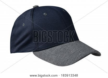 Hat Isolated On White Background.blue Hat Hat With Gray Visor