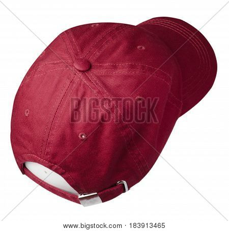 Cap Isolated On White Background. Cap With A Visor .red Cap