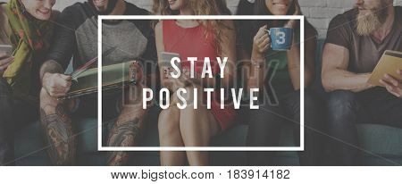 Stay Positive Mindset Optimistic Word Graphic