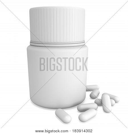 Blank plastic bottle of pills. 3D render illustration isolated on white background. Medical drug pharmacy care and tablet pills antibiotic pharmaceutical