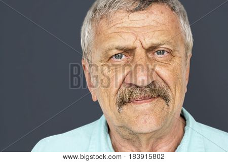 Senior Adult Man Serene Face Expression Studio Portrait