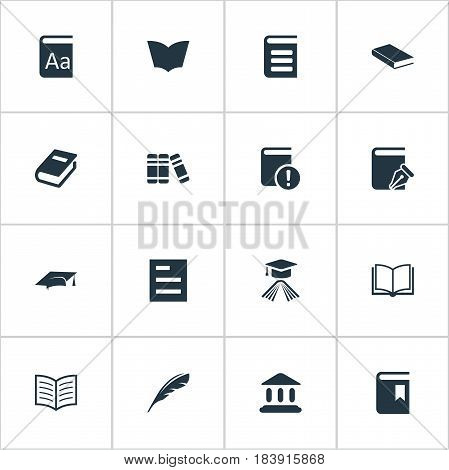 Vector Illustration Set Of Simple Knowledge Icons. Elements Tasklist, Graduation Hat, Alphabet And Other Synonyms Literature, Dictionary And Bookmark.