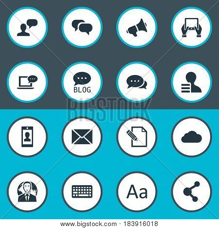 Vector Illustration Set Of Simple User Icons. Elements Cedilla, Gain, Post And Other Synonyms Relation, Missive And Man.