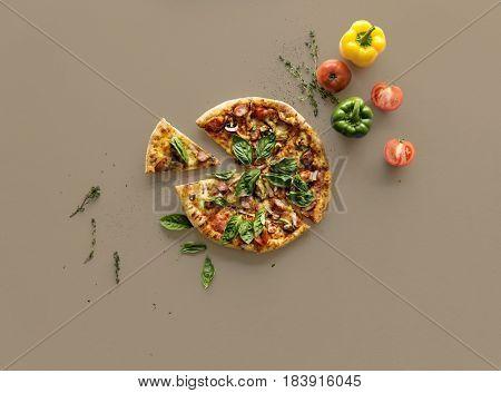 Slice of a whole italian cuisine pizza pan