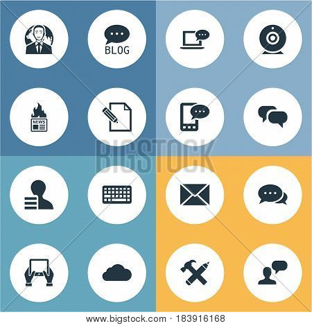 Vector Illustration Set Of Simple Blogging Icons. Elements Document, Overcast, Post And Other Synonyms Considering, Hammer And Coming.