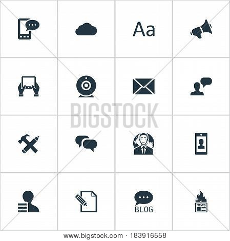 Vector Illustration Set Of Simple Blogging Icons. Elements Post, Profile, Man Considering And Other Synonyms Man, Pencil And Pen.