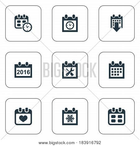 Vector Illustration Set Of Simple Plan Icons. Elements 2016 Calendar, Event, Snowflake And Other Synonyms History, Annual And Time.