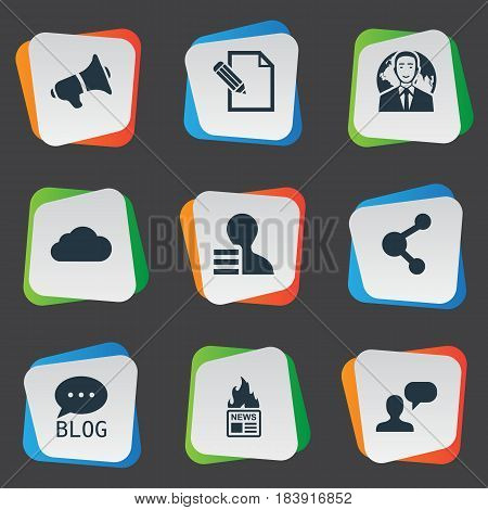 Vector Illustration Set Of Simple User Icons. Elements Man Considering, Gazette, Loudspeaker And Other Synonyms Debate, Globe And Sky.