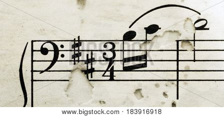 macro of some old sheet music