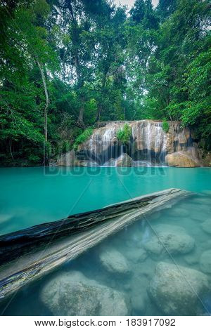 Waterfall in forest at Erawan waterfall National Park Kanchanaburi Thailand