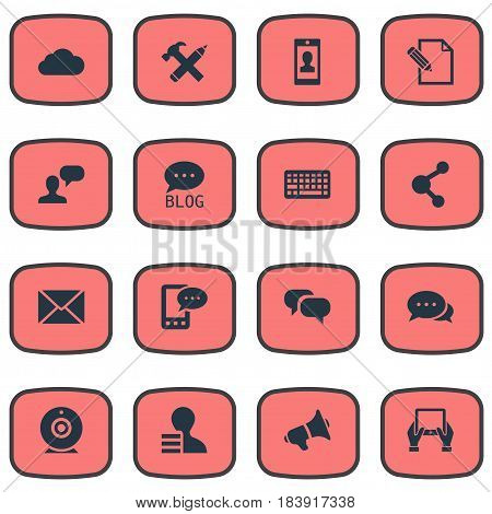 Vector Illustration Set Of Simple Blogging Icons. Elements Overcast, Post, E-Letter And Other Synonyms Profile, Relation And Megaphone.