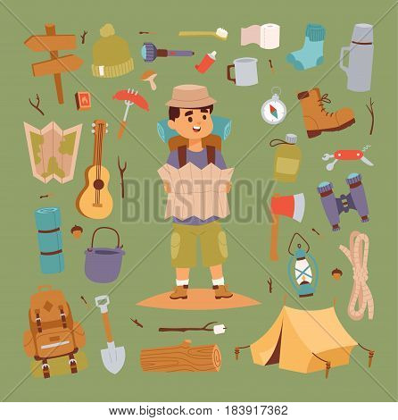 Set of camping stickers in hand drawn style tent, flashlight, match, compass, thermos. Expedition concept camping stickers icons. Vector travel outdoor camp recreation expedition character