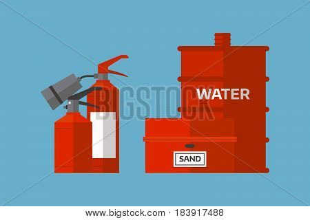 Fire extinguisher danger protection security help equipment pressure flammable vector illustration. Suppression emergency symbol container extinguishing chemical protect tool.