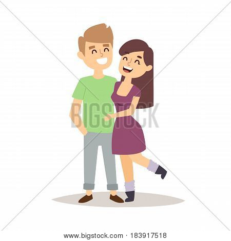Happy love couple cartoon and relationship characters lifestyle vector illustration. Relaxed friends group adult together romantic casual vacation retirement human.