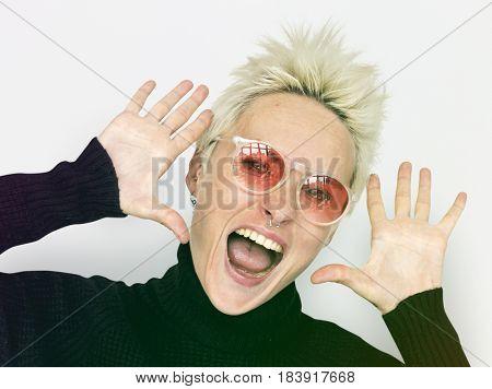 Short Blonde Hair Woman Making Face Expression Studio Portrait