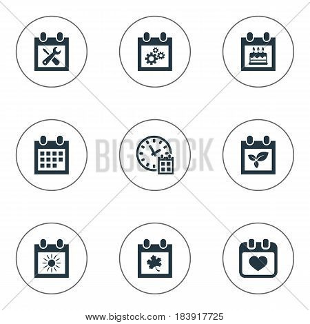 Vector Illustration Set Of Simple Calendar Icons. Elements Special Day, Renovation Tools, Heart And Other Synonyms Wheel, Almanac And Agenda.