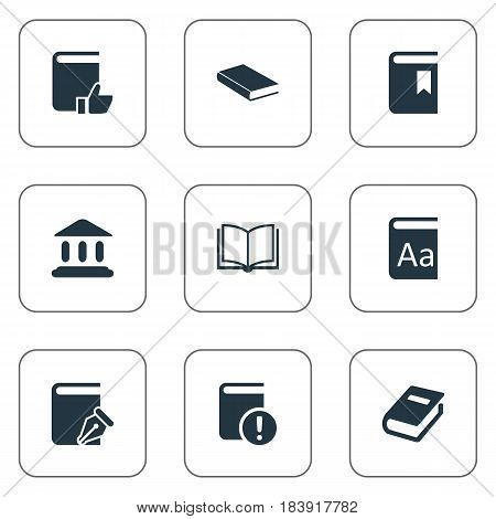 Vector Illustration Set Of Simple Education Icons. Elements Recommended Reading, Alphabet, Notebook And Other Synonyms Catalog, Sketchbook And School.