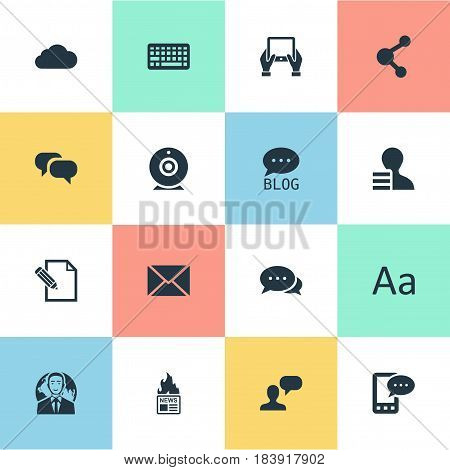 Vector Illustration Set Of Simple Blogging Icons. Elements Broadcast, Man Considering, Gazette And Other Synonyms International, Web And Relation.