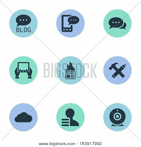 Vector Illustration Set Of Simple Newspaper Icons. Elements Overcast, Gain, Notepad And Other Synonyms Gain, Argument And Camera.