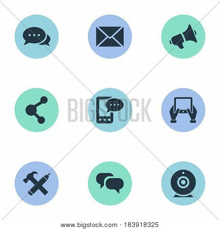 Vector Illustration Set Of Simple User Icons. Elements Repair, Broadcast, Share And Other Synonyms Notepad, Conversation And Message.