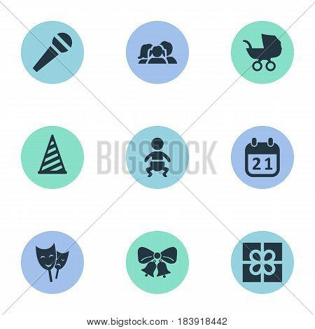 Vector Illustration Set Of Simple Celebration Icons. Elements Mask, Box, Domestic And Other Synonyms People, Day And History.