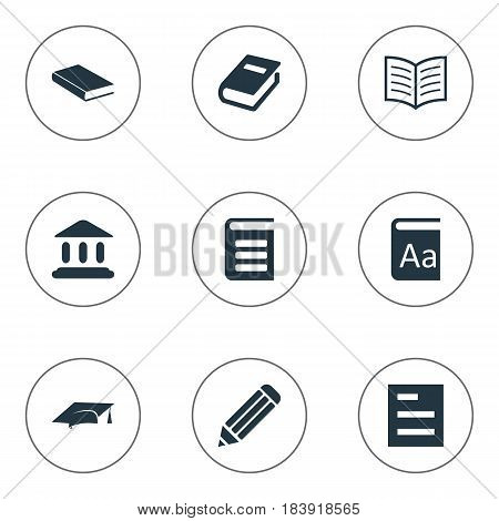 Vector Illustration Set Of Simple Books Icons. Elements Library, Academic Cap, Pen And Other Synonyms Journal, Note And Encyclopedia.