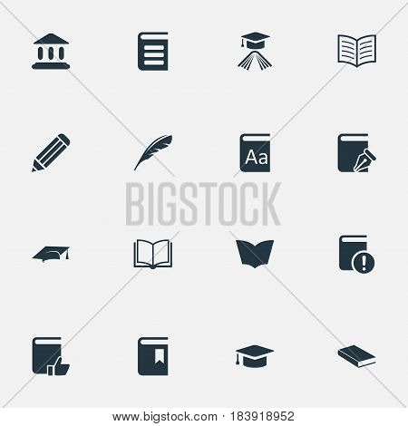 Vector Illustration Set Of Simple Knowledge Icons. Elements Library, Encyclopedia, Academic Cap And Other Synonyms Write, Recommended And Cap.