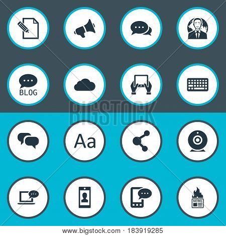 Vector Illustration Set Of Simple Blogging Icons. Elements Argument, Cedilla, International Businessman And Other Synonyms Laptop, Discussion And Sky.