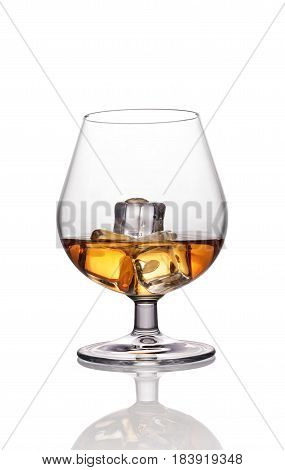 Glass Of Strong Alcoholic Drink Scotch Whiskey With Ice Cube