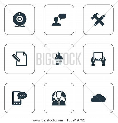 Vector Illustration Set Of Simple Newspaper Icons. Elements International Businessman, Repair, Broadcast And Other Synonyms Camera, News And Considering.