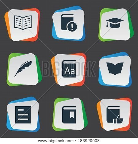 Vector Illustration Set Of Simple Books Icons. Elements Recommended Reading, Academic Cap, Reading And Other Synonyms List, Important And Page.