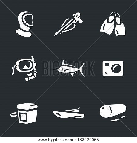 Wetsuit, harpoon, fins, mask, camera, box, weight, sea boat, float.
