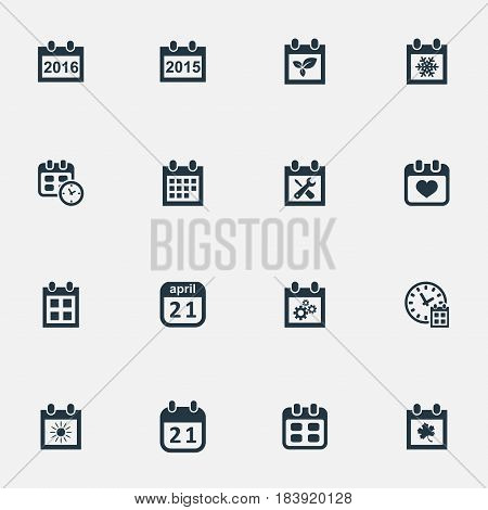Vector Illustration Set Of Simple Time Icons. Elements Date, Plant, Reminder And Other Synonyms Block, Clock And Summer.