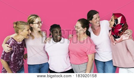 Group of girlfriends with breast cancer awareness charity