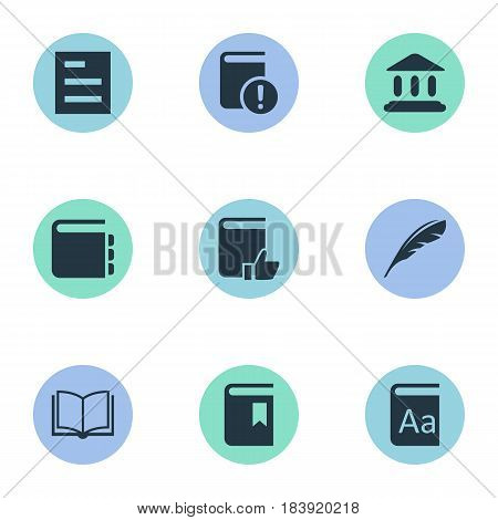 Vector Illustration Set Of Simple Knowledge Icons. Elements Book Cover, Blank Notebook, Tasklist And Other Synonyms Building, Feather And School.