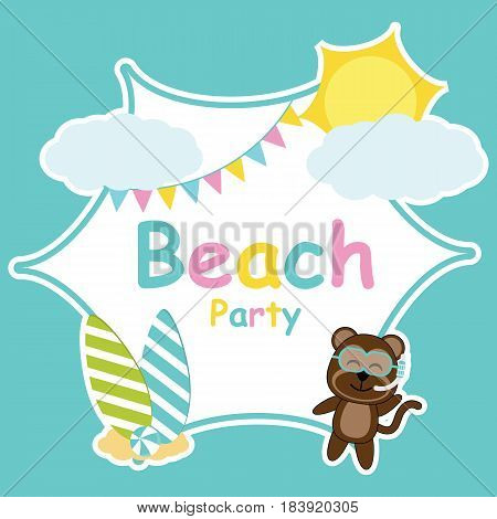 Cute monkey, sun, and colorful flag frame vector cartoon, Summer postcard, wallpaper, and greeting card, T-shirt design for kids