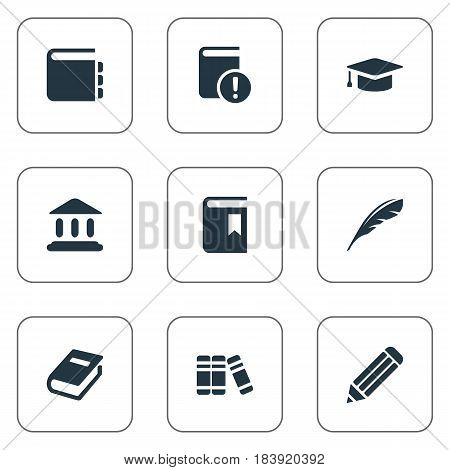 Vector Illustration Set Of Simple Reading Icons. Elements Pen, Library, Plume And Other Synonyms Pen, School And Important.