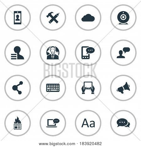Vector Illustration Set Of Simple User Icons. Elements Man Considering, Notepad, Profile And Other Synonyms Loudspeaker, Broadcast And Gain.